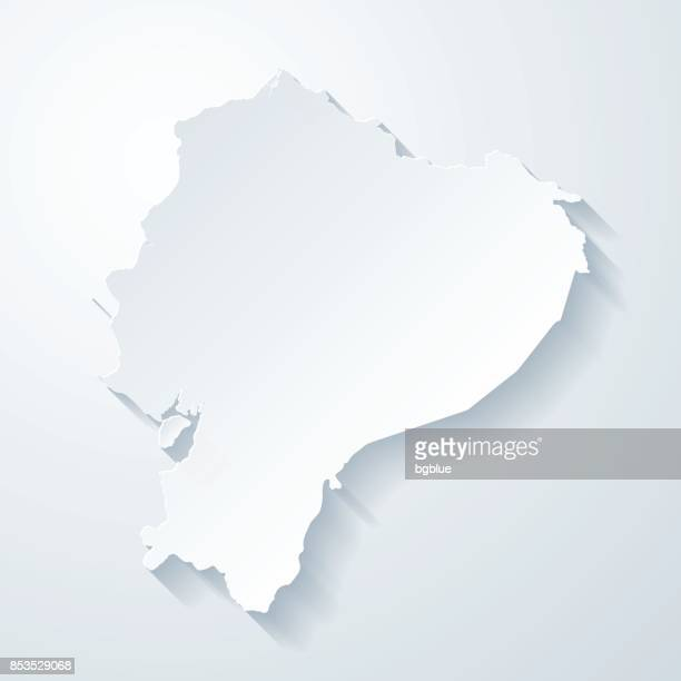 Ecuador map with paper cut effect on blank background