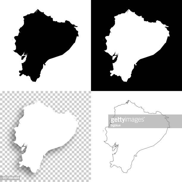 ecuador maps for design - blank, white and black backgrounds - ecuador stock illustrations