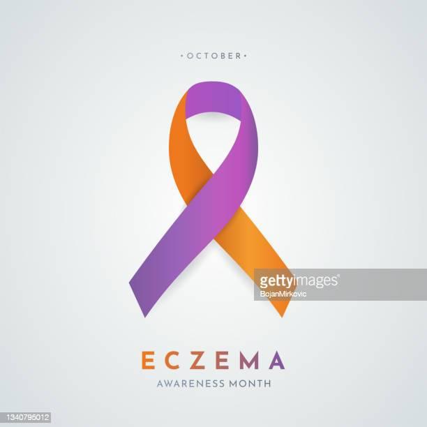 eczema awareness month card. vector - autoimmunity stock illustrations