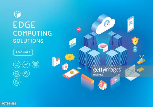 edge computing concept - at the edge of stock illustrations