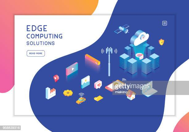 edge computing template - at the edge of stock illustrations