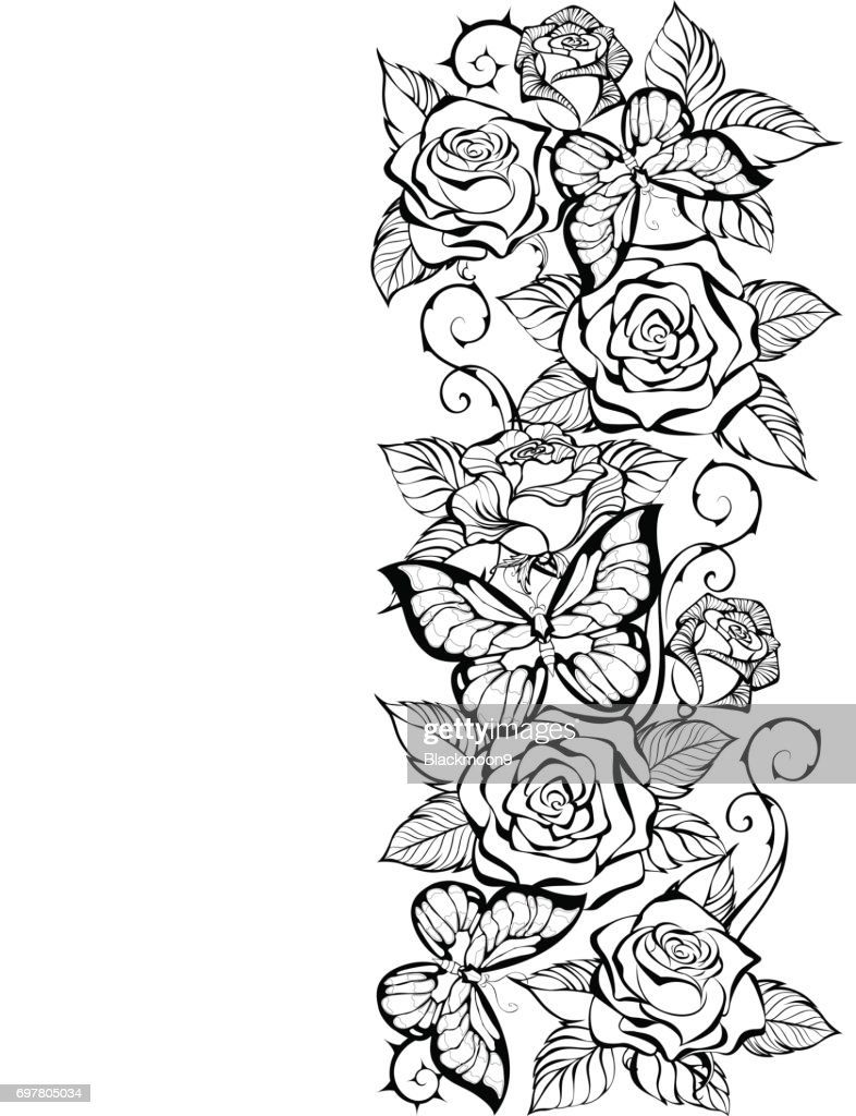 edge of contour of roses and butterflies