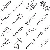 Edged weapons. set of line icons.