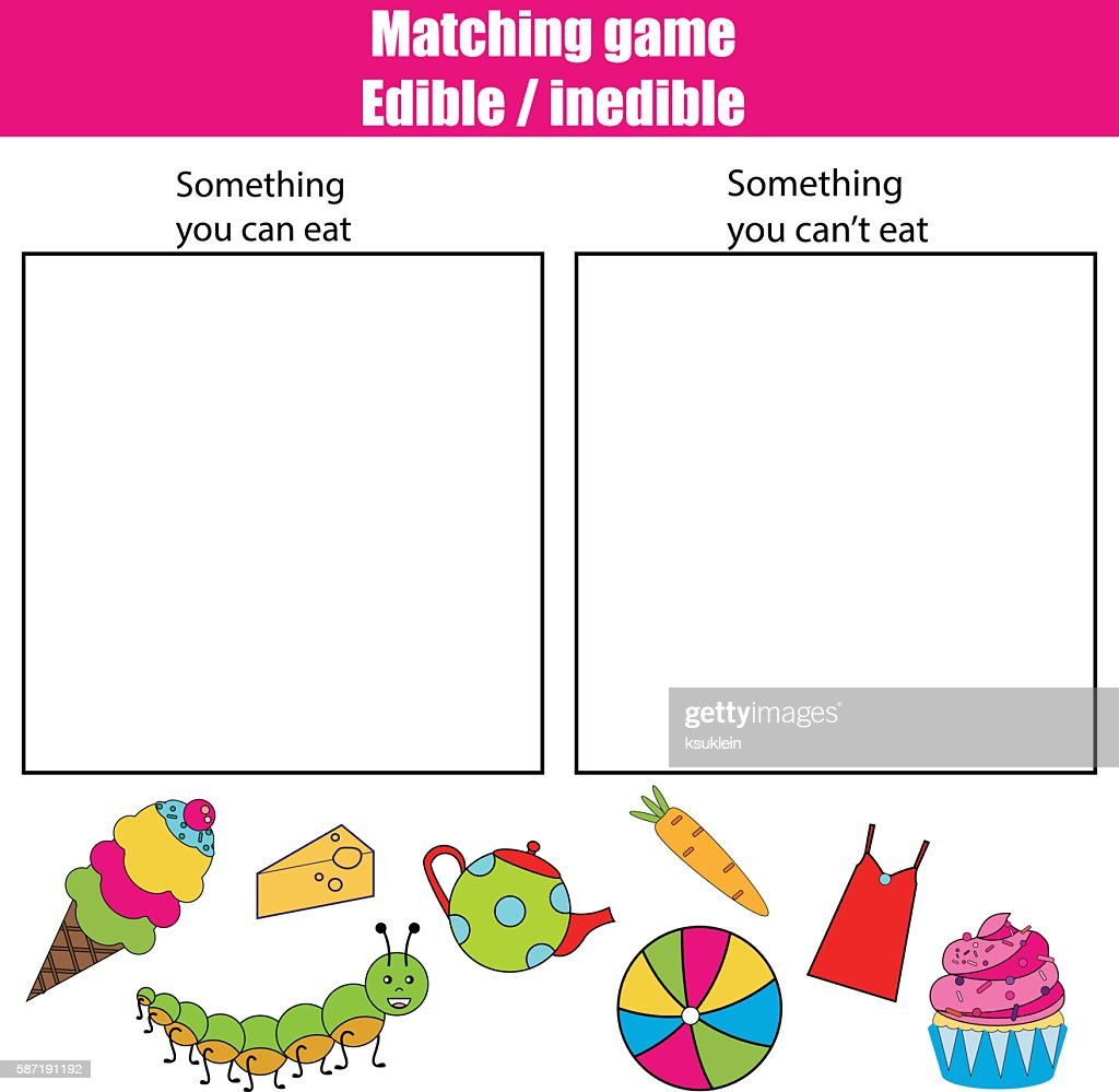 Edible inedible educational children game, kids activity sheet