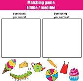 Edible inedible educational children game, kids activity sheet