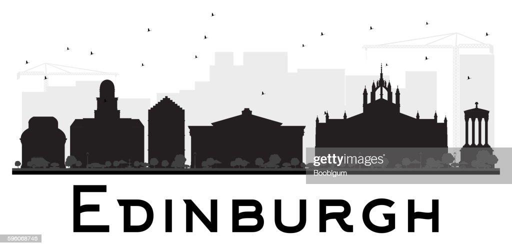Edinburgh City skyline black and white silhouette.