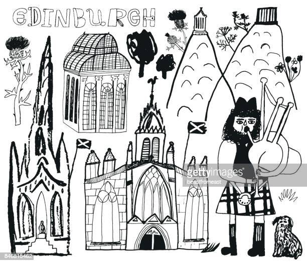 edinburgh in scotland - thistle stock illustrations, clip art, cartoons, & icons