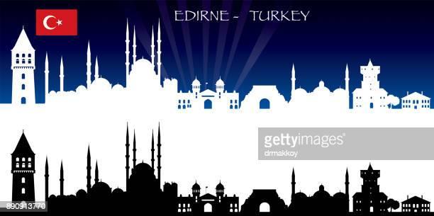 edirne skyline - selimiye mosque stock illustrations