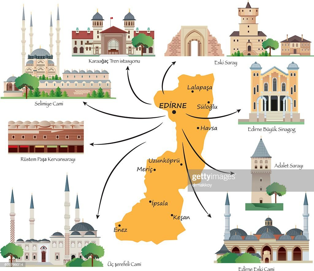 Edirne Travel Map Vector Art Getty Images