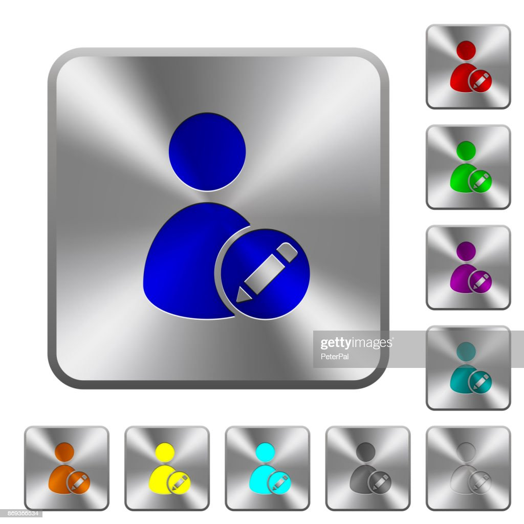 Edit user account rounded square steel buttons