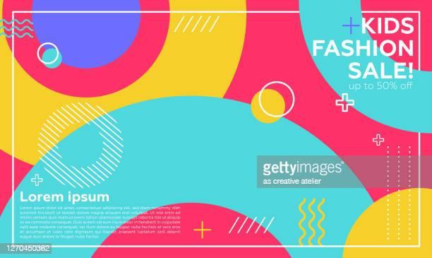 illustrazioni stock, clip art, cartoni animati e icone di tendenza di banner di social media modello di post modificabili per il marketing digitale. promozione brand fashion. streaming. concetti per bambini - alla moda