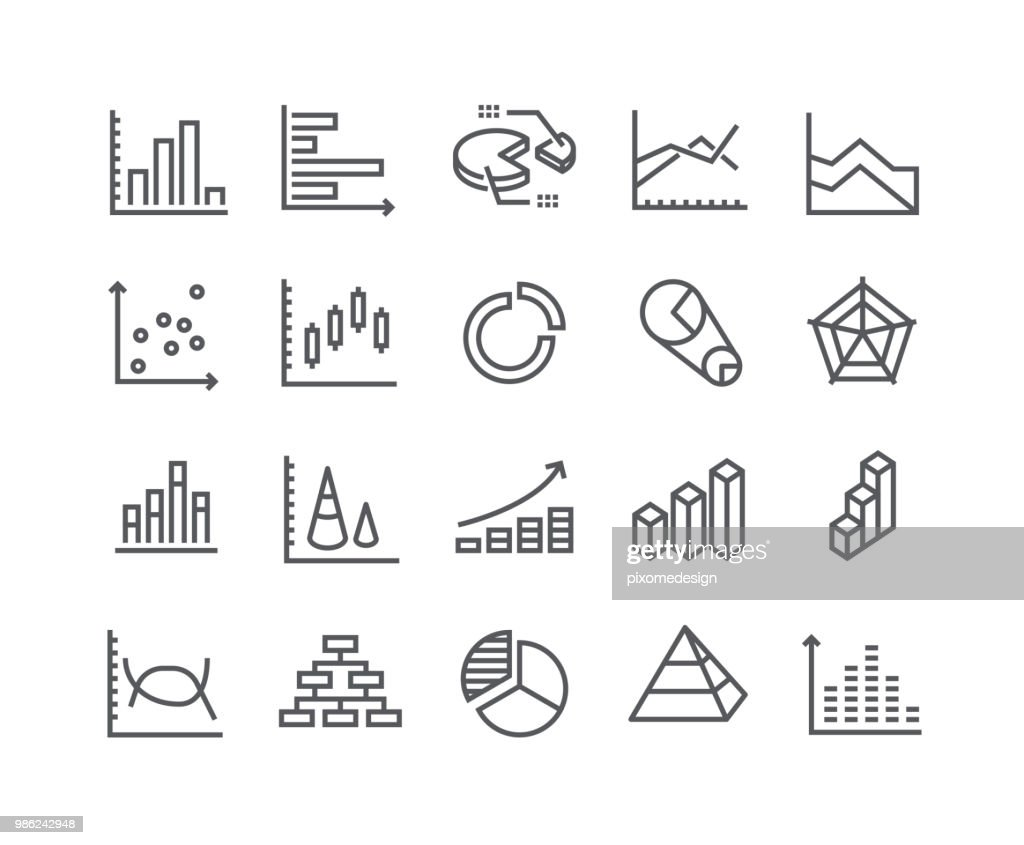 Editable simple line stroke vector icon set,Charts and Diagrams, 3D Chart, Dot Graph, Growth Bar and more. 48x48 Pixel Perfect.