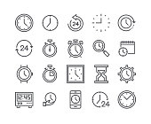 Editable simple line stroke vector icon set,Contains such Icons as Timer, Speed, Alarm, Restore, Time Management, Calendar, smartwatch, hourglass and more..48x48 Pixel Perfect.