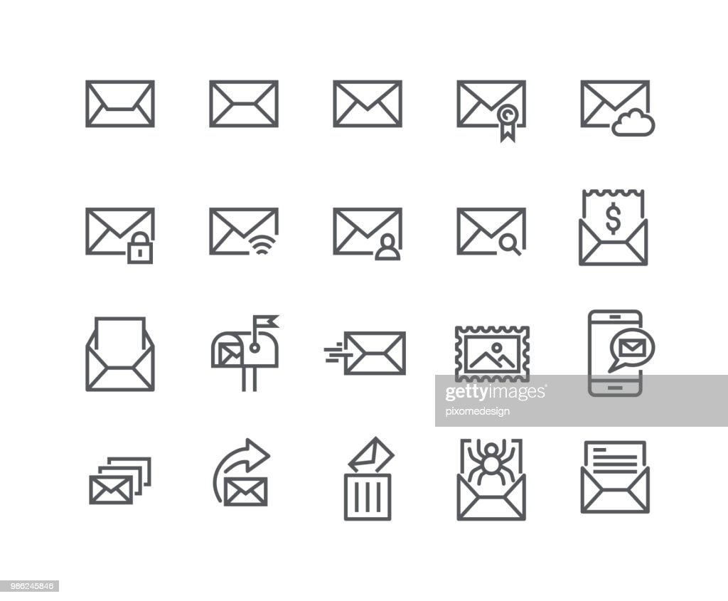 Editable simple line stroke vector icon set,Contains such Icons as Newsletter, Spam, Private, Mail Box, Address Book and more..48x48 Pixel Perfect.