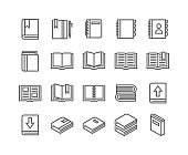 Editable simple line stroke vector icon set,Contains such Icons as book, digital book, bookmark, openbook, isometric books and more.48x48 Pixel Perfect.