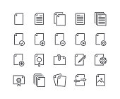 Editable simple line stroke vector icon set,Contains such Icons as documents,paper,sharing data,clipboard,multimedia data files and more.48x48 Pixel Perfect.
