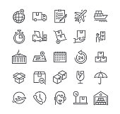 Editable simple line stroke vector icon set,Express Delivery, Tracking, delivery car, Logistics and more. 48x48 Pixel Perfect.