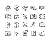 Editable simple line stroke vector icon set,Help Desk, Support, Feedback, technical Service and more. 48x48 Pixel Perfect.