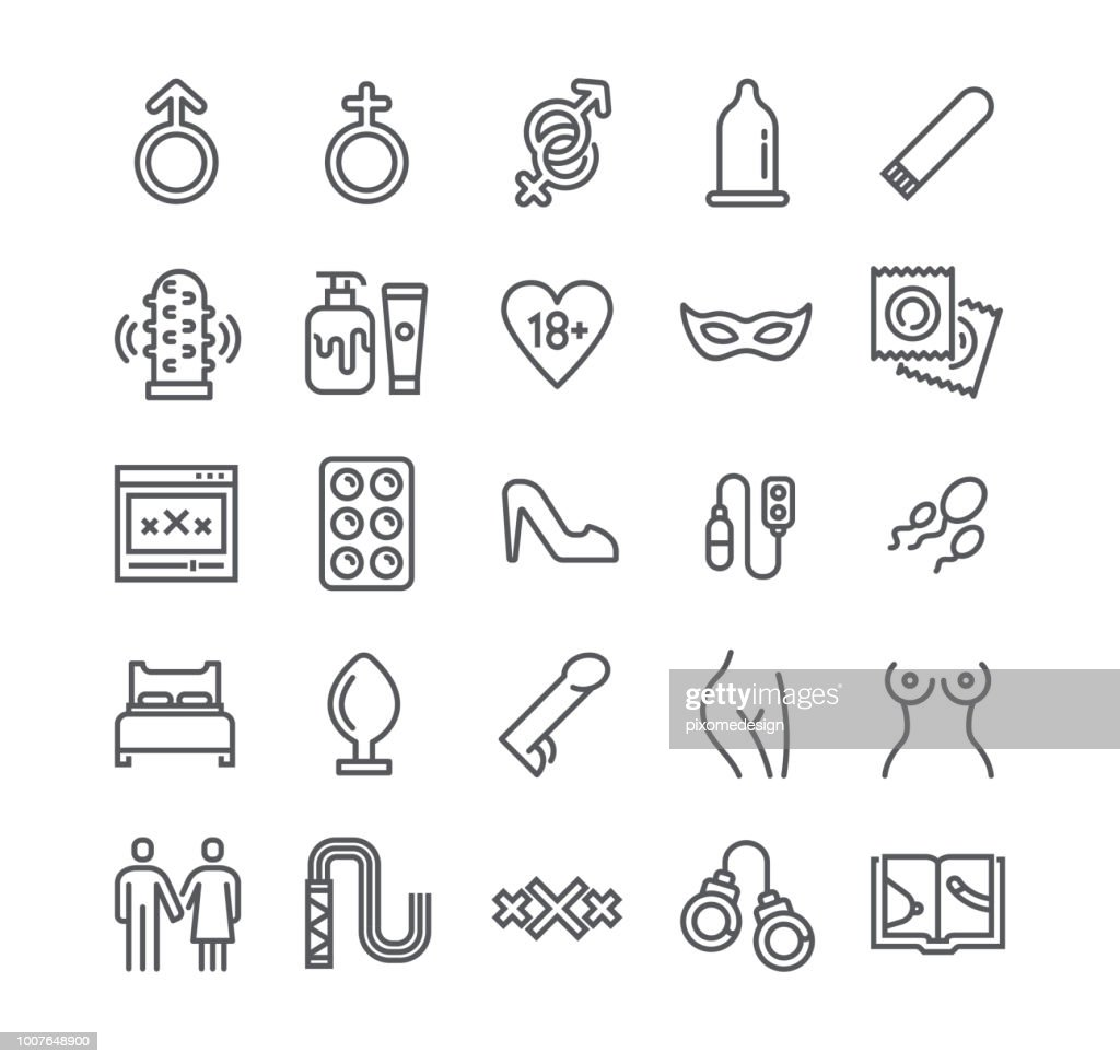 Editable simple line stroke vector icon set,Intim or Sex Shop, Eroticism Love Couple, Pornography and more. 48x48 Pixel Perfect.