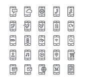 Editable simple line stroke vector icon set,Smartphones in various situations, phone calls, rejection, safety, multimedia, battery, voip and more.48x48 Pixel Perfect.