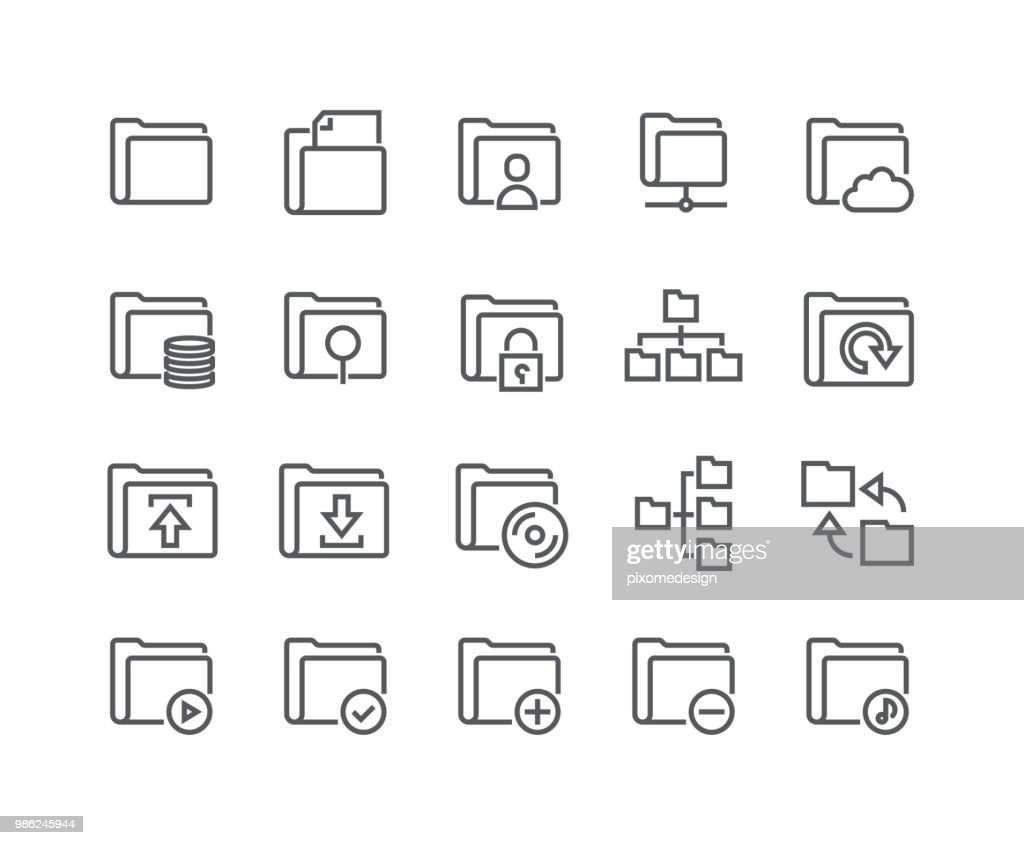 Editable simple line stroke vector icon set,Various folders System icons, shares, security, servers, relationships and more.48x48 Pixel Perfect.
