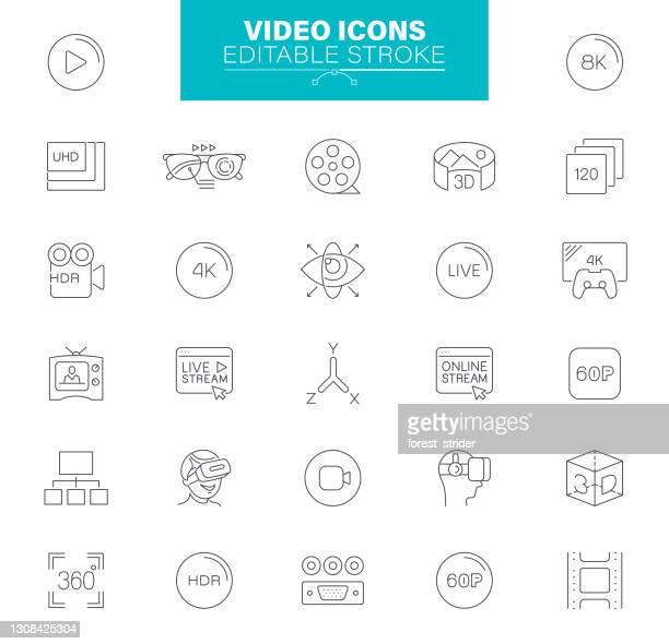 , editable stroke. cinema and movie - hd stock illustrations