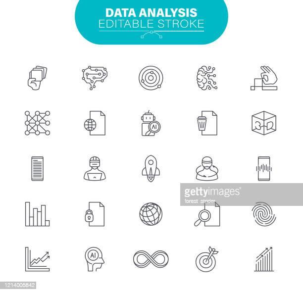 editable stroke. in set icon as data, artificial intelligence, statistics, illustration - infinity stock illustrations
