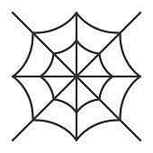 Editable stroke Spider web thin line icon