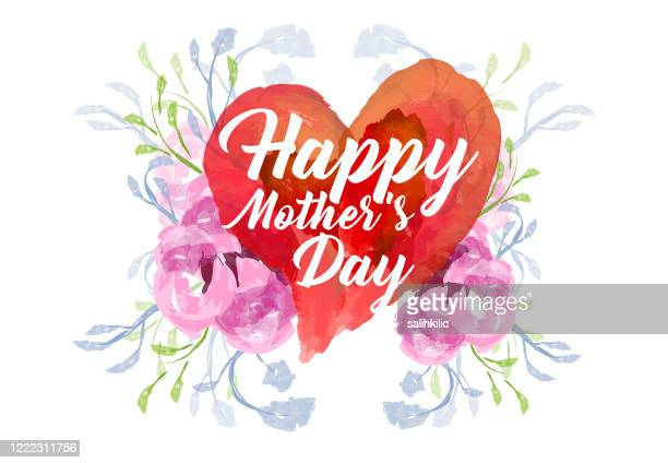 editable vector watercolor heart and flowers with happy mother's day text - mothers day stock illustrations