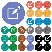 Editbox with pencil round flat multi colored icons