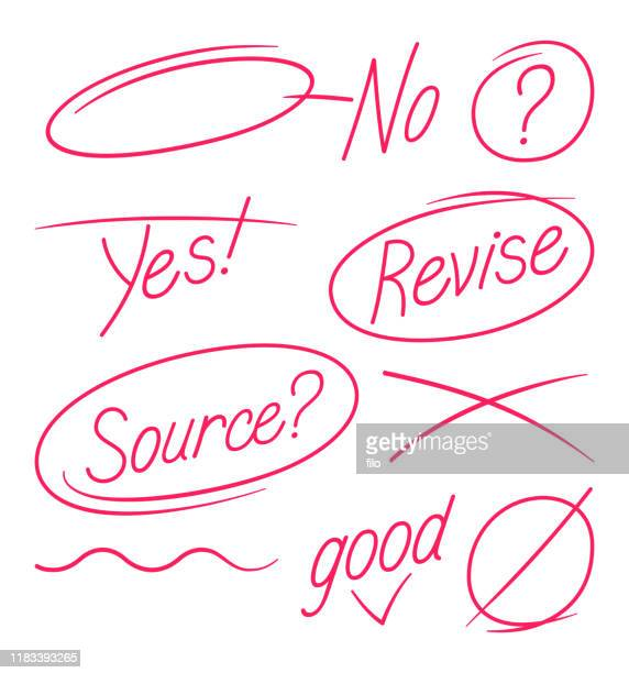 editing and paper revision grammar and spelling marks - crossed out stock illustrations