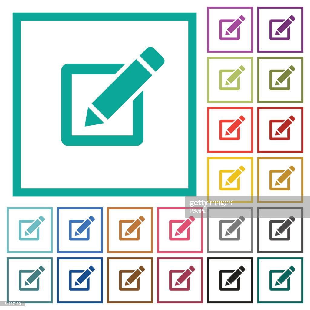 Editing box with pencil flat color icons with quadrant frames