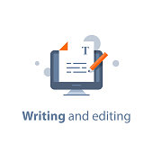 Editing text document, online education, creative writing and storytelling, copywriting concept