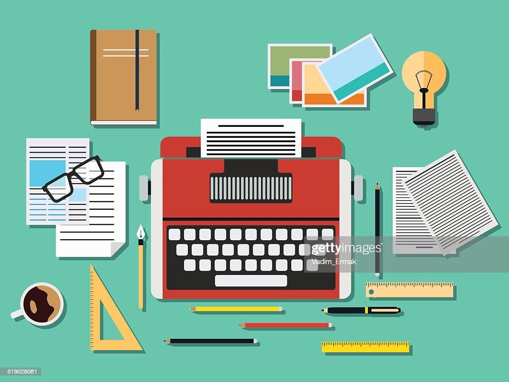 Editor workplace illustration