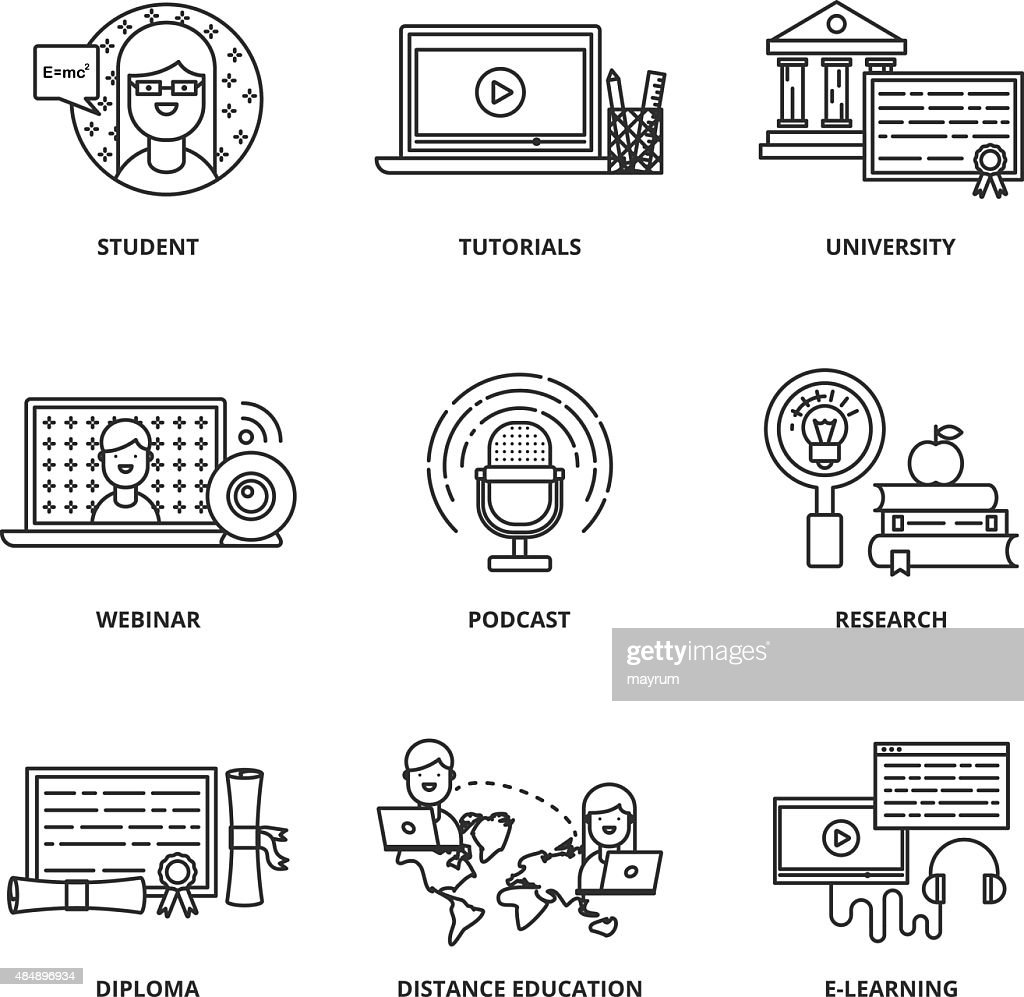 Education and e-learning vector icons set modern line style