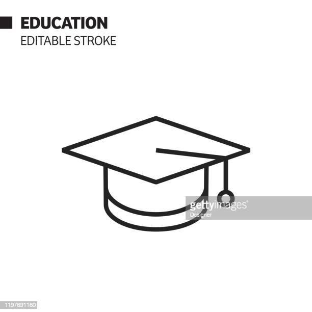 ilustraciones, imágenes clip art, dibujos animados e iconos de stock de icono de línea de educación y graduación, ilustración de símbolo vectorial de esquema. píxel perfecto, trazo editable. - birrete