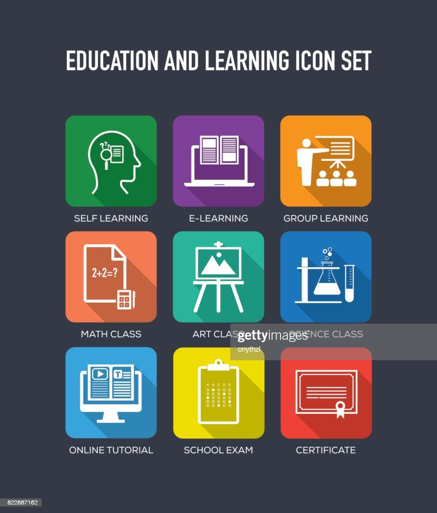 Education and Learning Flat Icons Set : stock illustration