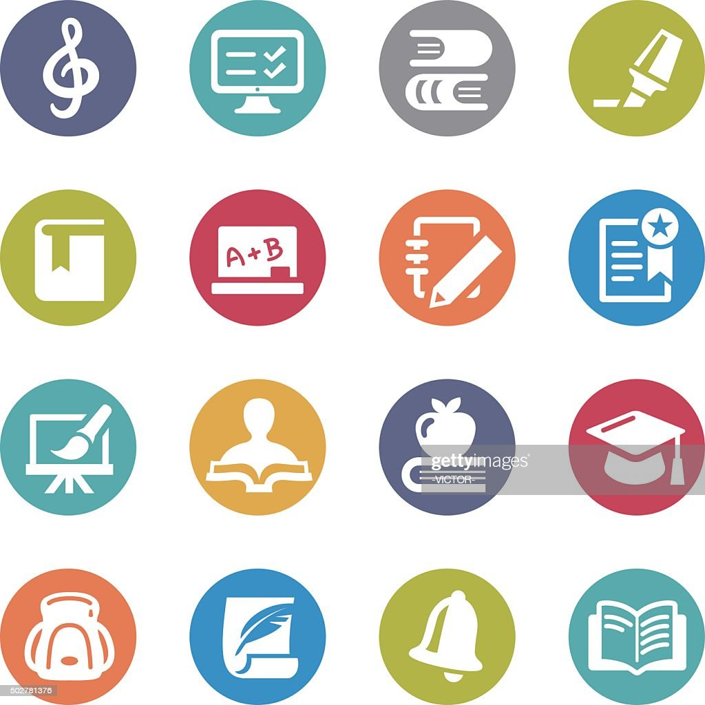 Education and School Icons - Circle Series : stock illustration