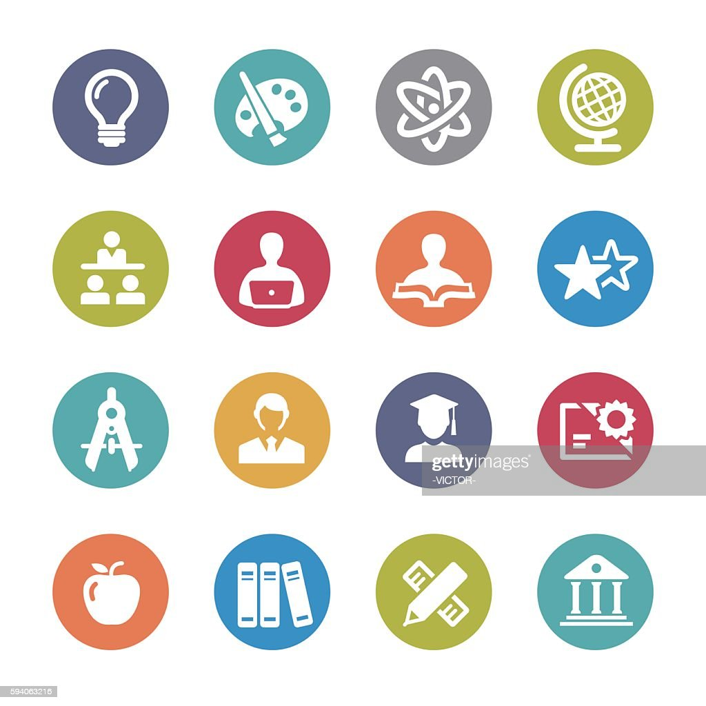 Education and School Icons Set - Circle Series : stock illustration