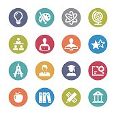 Education and School Icons Set - Circle Series