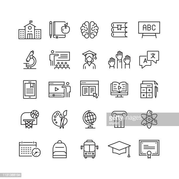 education and school related vector line icons - showing stock illustrations