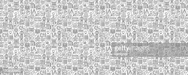education and school seamless pattern and background with line icons - art and craft stock illustrations