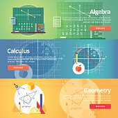 Education and science banners set. Vector flat design concept.