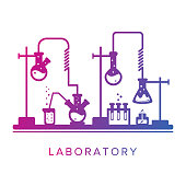 Education and science concept. Chemistry, pharmacy or research laboratory. Science equipment. Chemistry theme. Simple image, two colors fashion gradient. For advertising flyer or web banner