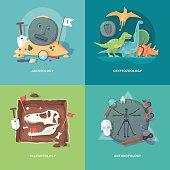 Education and science concept illustrations. Archeology, cryptozoology, paleontology, anthropology.