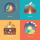Education and science concept illustrations. Geophysics, seismology, geology, meteorology.