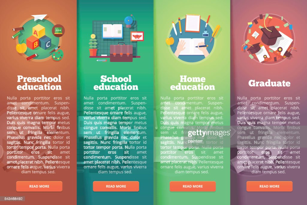 Education and science vertical layout concepts. Flat modern style.