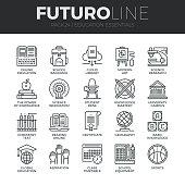 Education and Training Futuro Line Icons Set