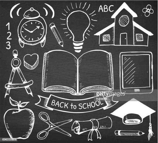 education back to school vector hand drawings on chalk board - icon collage stock illustrations