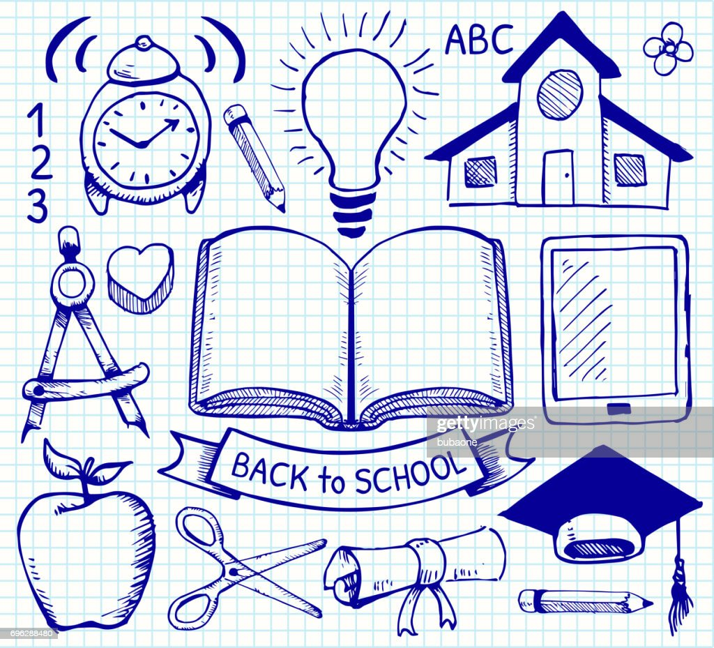 Education Back to School Vector Hand Drawings on Graph Paper : stock illustration